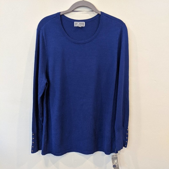 JM Collection Women/'s Button-Sleeve Ribbed Sweater Bright Sapphire Size Small